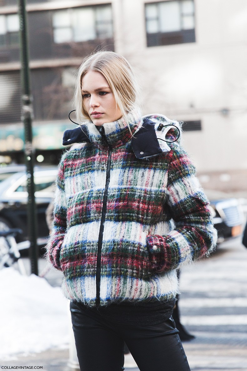 New_York_Fashion_Week-Fall_Winter_2015-Street_Style-NYFW-Anna_Ewers-Checked_Coat-4