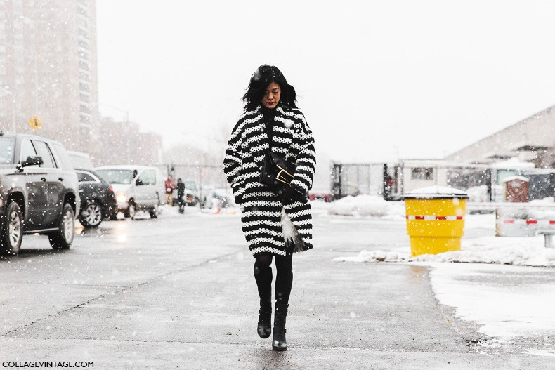 New_York_Fashion_Week-Fall_Winter_2015-Street_Style-NYFW-Black_And_White-Striped_Knit-