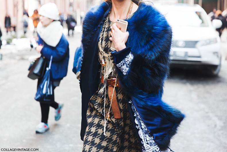 New_York_Fashion_Week-Fall_Winter_2015-Street_Style-NYFW-Blue_Fur_Coat-
