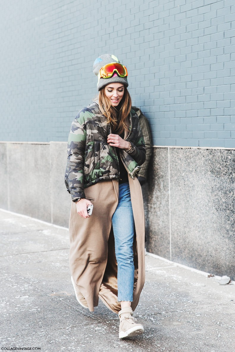 New_York_Fashion_Week-Fall_Winter_2015-Street_Style-NYFW-Chiara_Ferragni-Camouflage_Jacket_Valentino-Long_Coat-