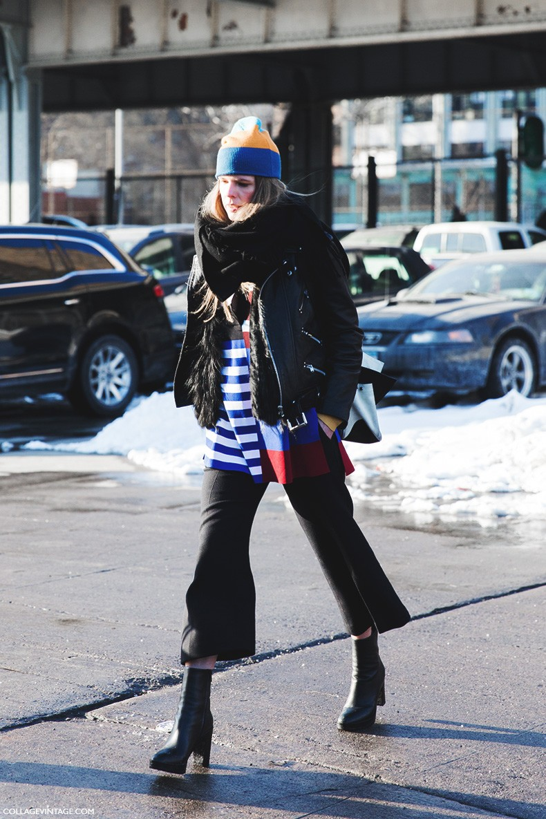 New_York_Fashion_Week-Fall_Winter_2015-Street_Style-NYFW-Culotte_Trousers-Booties-Stripes-