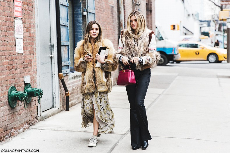 New_York_Fashion_Week-Fall_Winter_2015-Street_Style-NYFW-Friends-Fur_Coat.