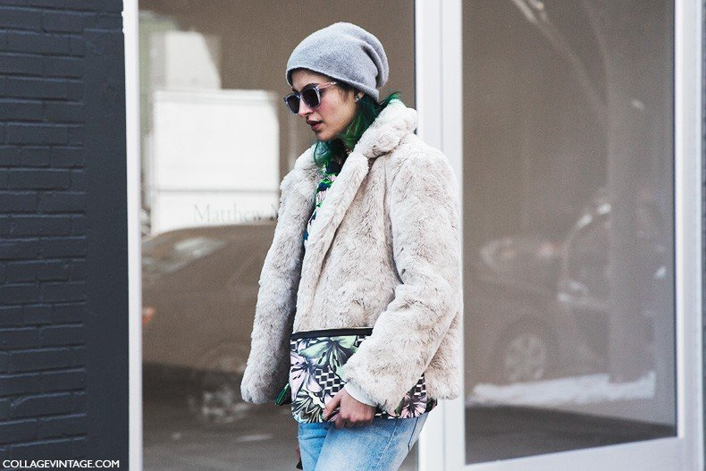 New_York_Fashion_Week-Fall_Winter_2015-Street_Style-NYFW-Fur_Coat-Beanie-