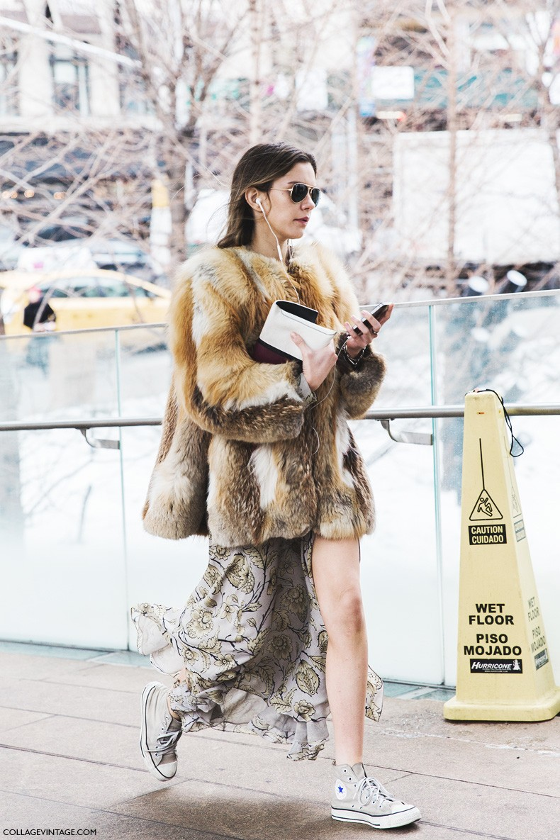 New_York_Fashion_Week-Fall_Winter_2015-Street_Style-NYFW-Fur_Coat-Long_Skirt-COnverse-2