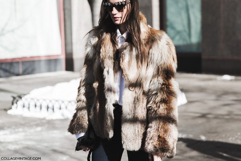 New_York_Fashion_Week-Fall_Winter_2015-Street_Style-NYFW-Fur_Coat-Prada_Sunglasses-