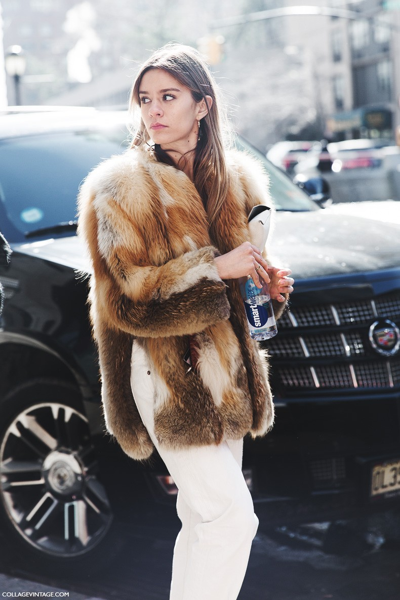 New_York_Fashion_Week-Fall_Winter_2015-Street_Style-NYFW-Fur_Coat-White_Jeans-