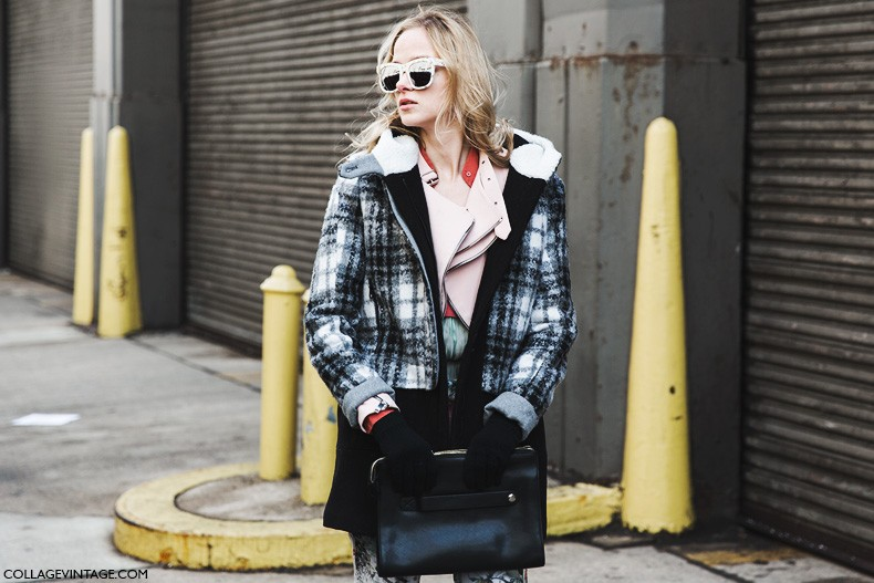 New_York_Fashion_Week-Fall_Winter_2015-Street_Style-NYFW-Layers-Checked_Coat-