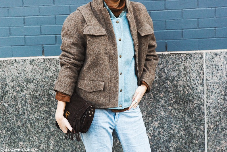 New_York_Fashion_Week-Fall_Winter_2015-Street_Style-NYFW-Layers_Double_Coat-Baseball_Jacket-