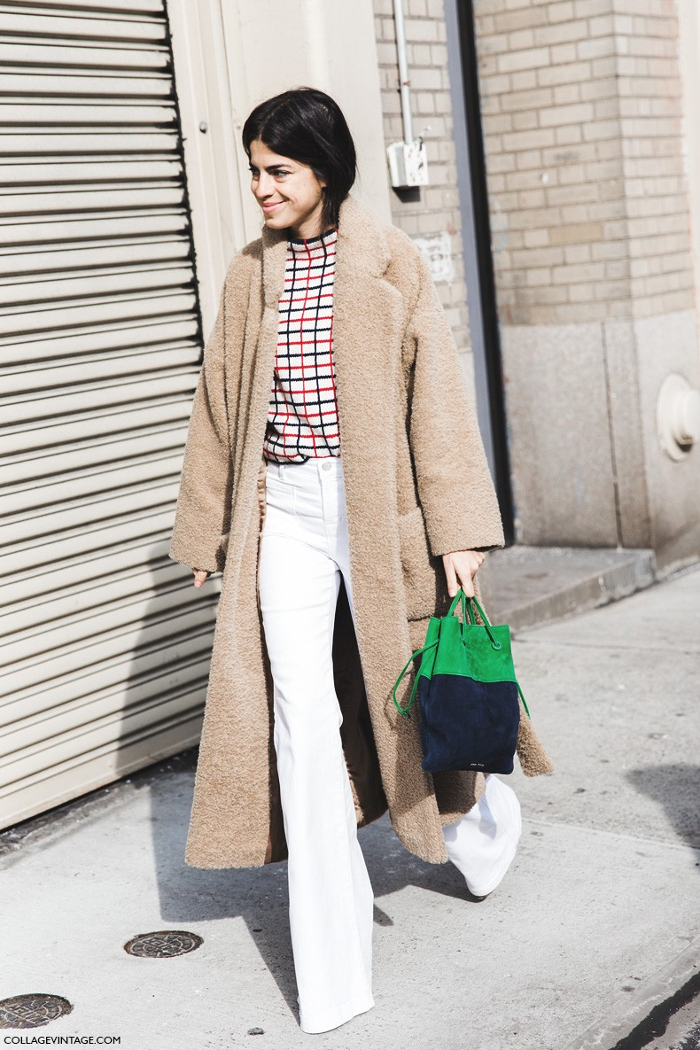 New_York_Fashion_Week-Fall_Winter_2015-Street_Style-NYFW-Leandra-medine-Oversize_Coat-White_Flared_Jeans-Checked_Top-2