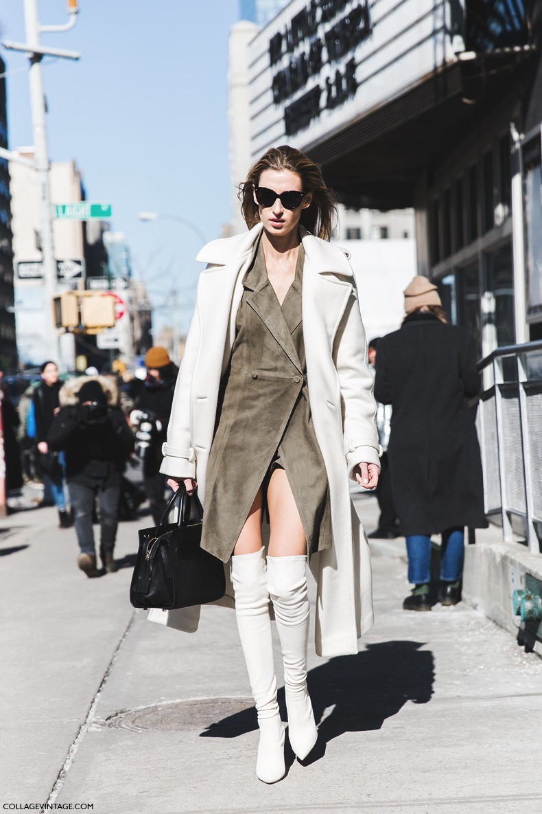 New_York_Fashion_Week-Fall_Winter_2015-Street_Style-NYFW-Over_The_Knee_Boots-White_Coat-