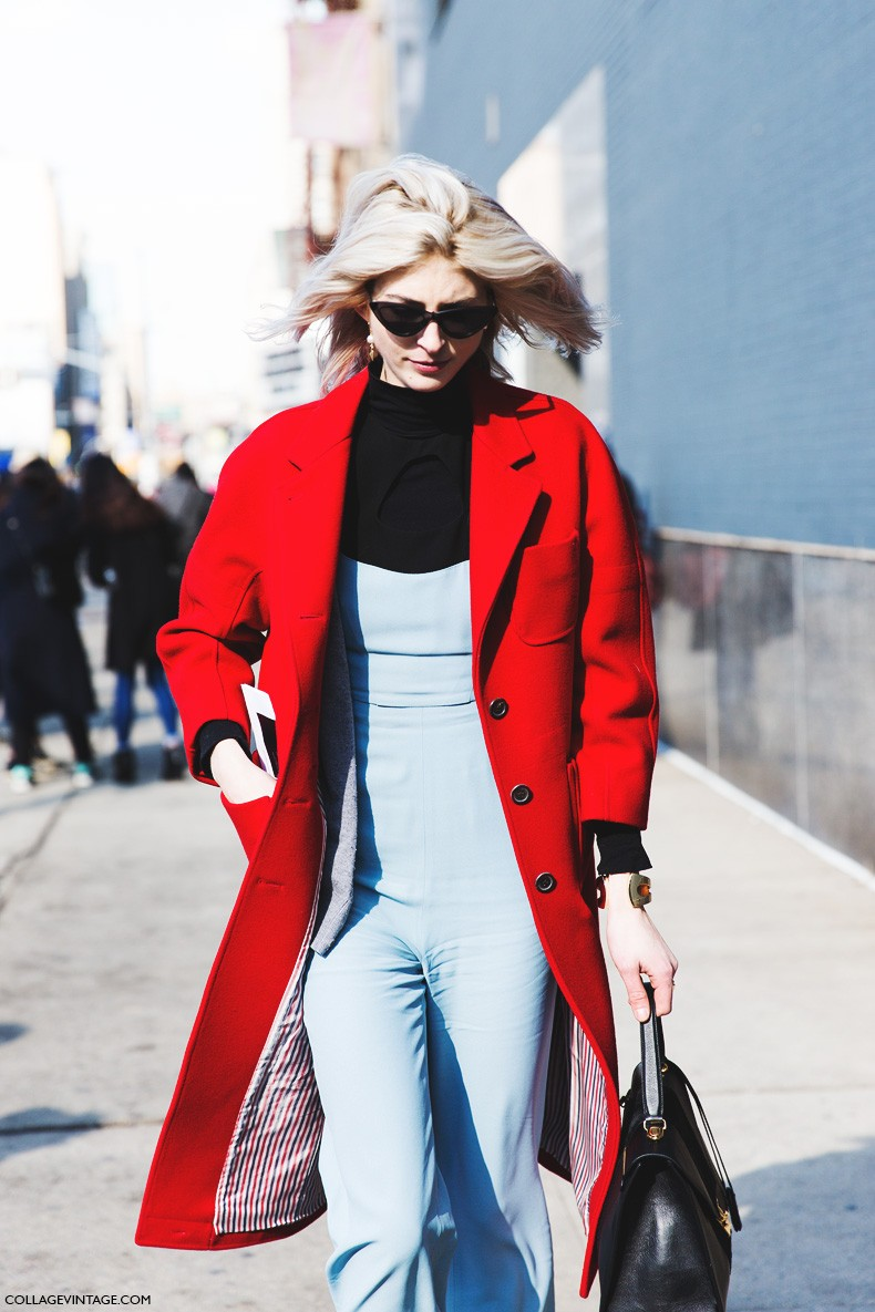 New_York_Fashion_Week-Fall_Winter_2015-Street_Style-NYFW-Red_Coat-Blue_Jumpsuit-