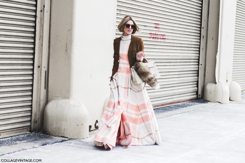 New_York_Fashion_Week-Fall_Winter_2015-Street_Style-NYFW-Saint_Laurent_Suede_Jacket-Missoni_Dress-2