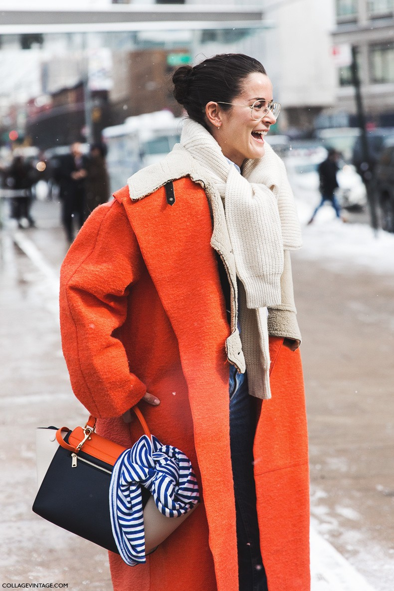 New_York_Fashion_Week-Fall_Winter_2015-Street_Style-NYFW-Scarves_Sweater-Orange_Coat-Dr_Martens-Levis-Jeans-6