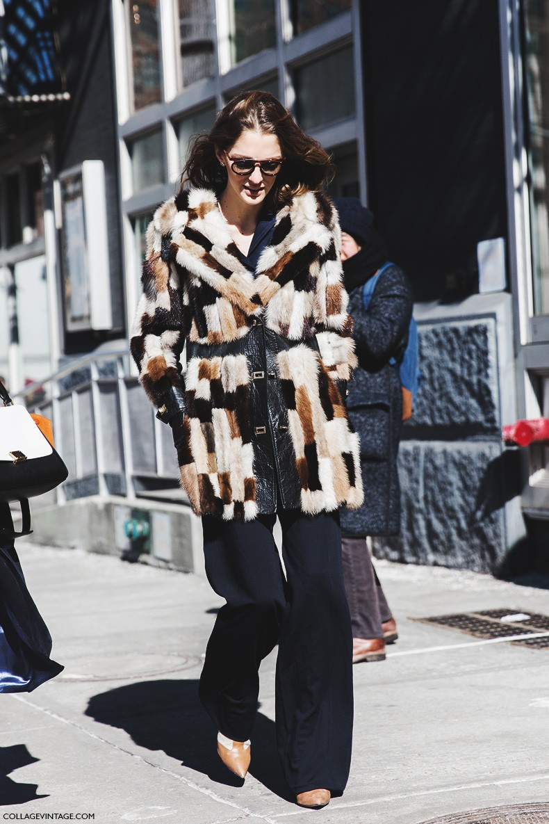 New_York_Fashion_Week-Fall_Winter_2015-Street_Style-NYFW-Sofia_Sanchez-Fur_Coat-Flared_Jeans-
