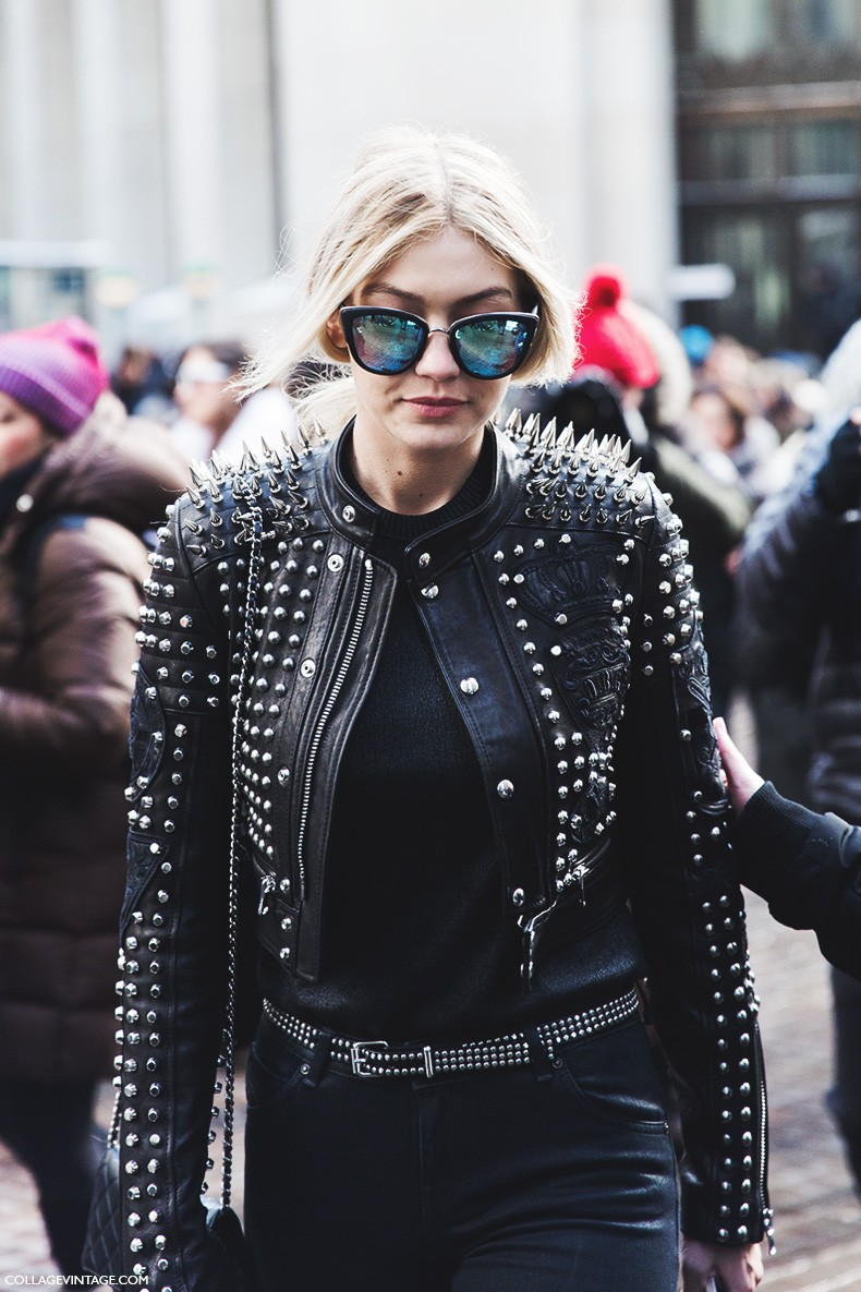 New_York_Fashion_Week-Fall_Winter_2015-Street_Style-NYFW-Studded_Leather_Jacket-Diesel-Gigi-
