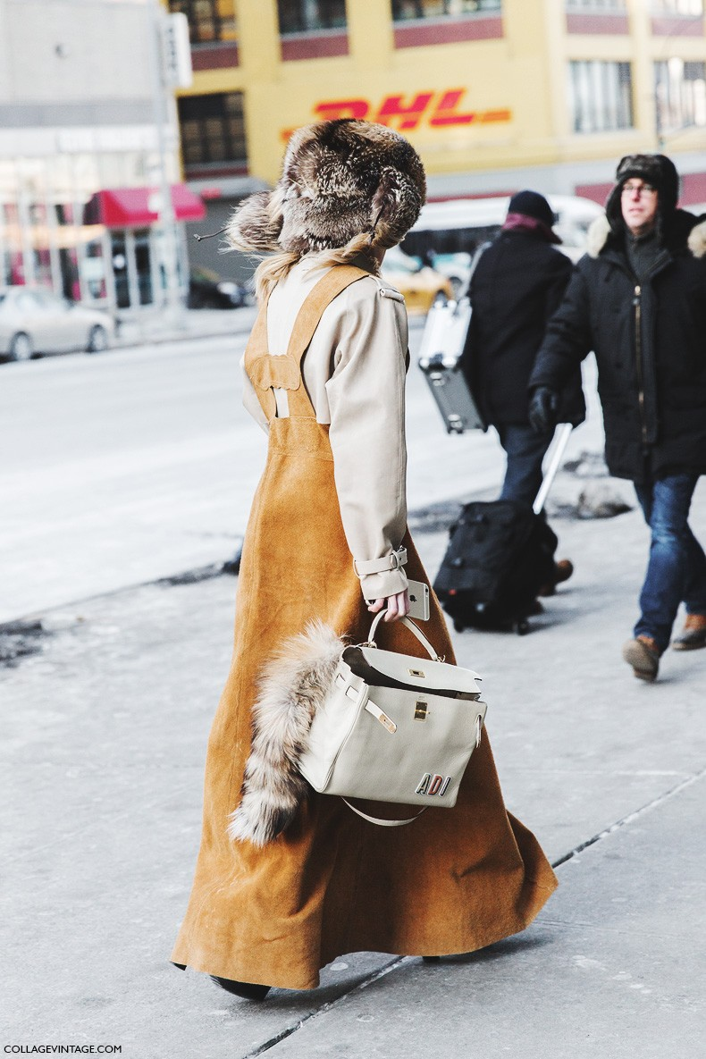New_York_Fashion_Week-Fall_Winter_2015-Street_Style-NYFW-Suede_Dress-Fur_Hat-