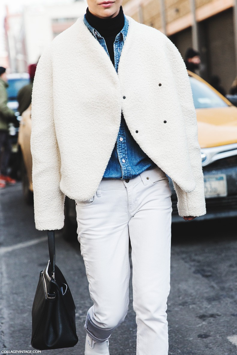 New_York_Fashion_Week-Fall_Winter_2015-Street_Style-NYFW-White_Jacket-White_Trousers-Denim-Turtle_Neck-