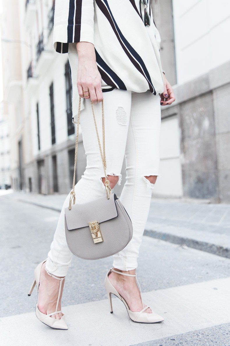 Denim_Jacket_Uterque-Striped_Blouse-Lace_Top-White_Ripped_JEans-Drew_Bag-Chloe-Outfit-Street_style-23