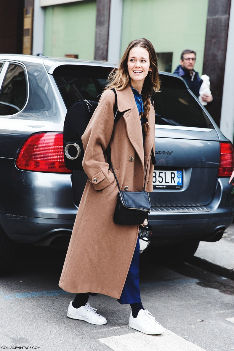Milan_Fashion_Week-Fall_Winter_2015-Street_Style-MFW-Camel_Coat-Stan_Smith_ADidas-1