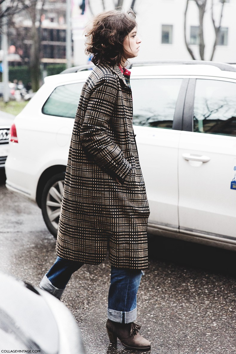 Milan_Fashion_Week-Fall_Winter_2015-Street_Style-MFW-Checked_Coat-