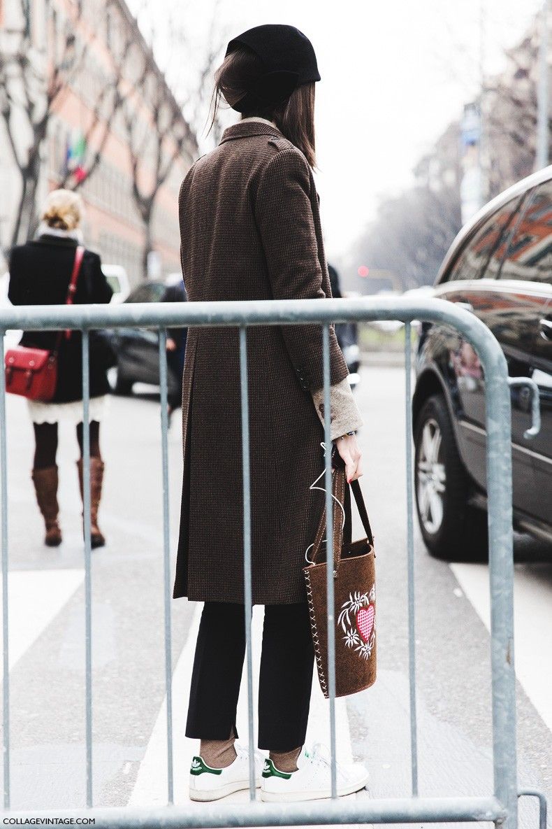 Milan_Fashion_Week-Fall_Winter_2015-Street_Style-MFW-Checked_Coat-Adidas_Stan_Smith-