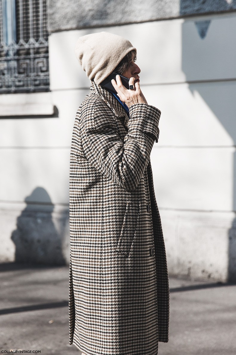 Milan_Fashion_Week-Fall_Winter_2015-Street_Style-MFW-Checked_Coat-Beanie-