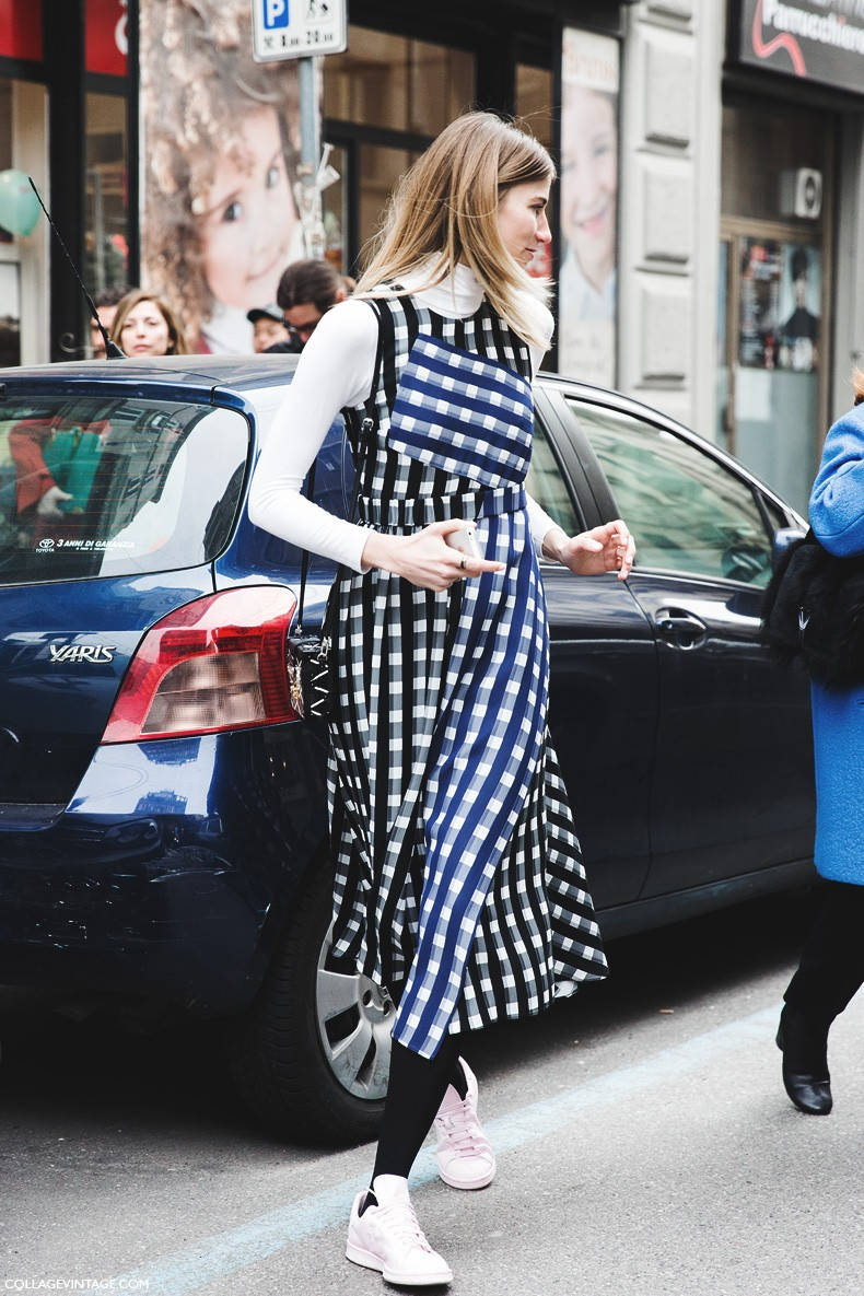 Milan_Fashion_Week-Fall_Winter_2015-Street_Style-MFW-Checked_dress-Turtle_Neck-Stan_Smith-