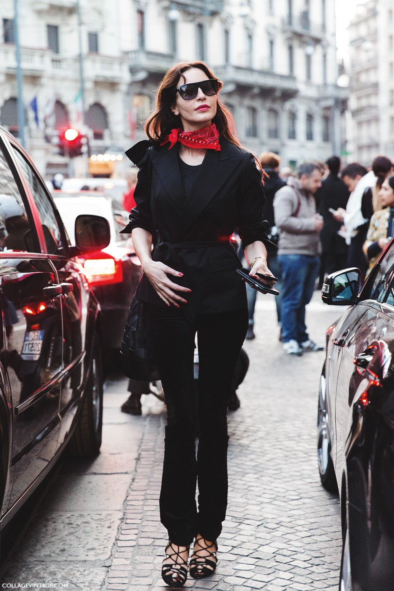 Milan_Fashion_Week-Fall_Winter_2015-Street_Style-MFW-Ece_Sukan-Bandana_Trend-
