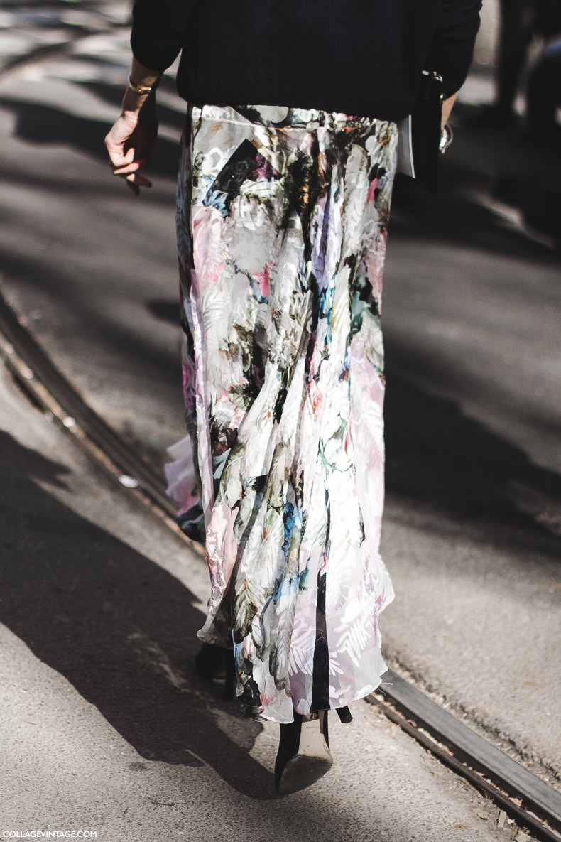 Milan_Fashion_Week-Fall_Winter_2015-Street_Style-MFW-Floral_Skirt-