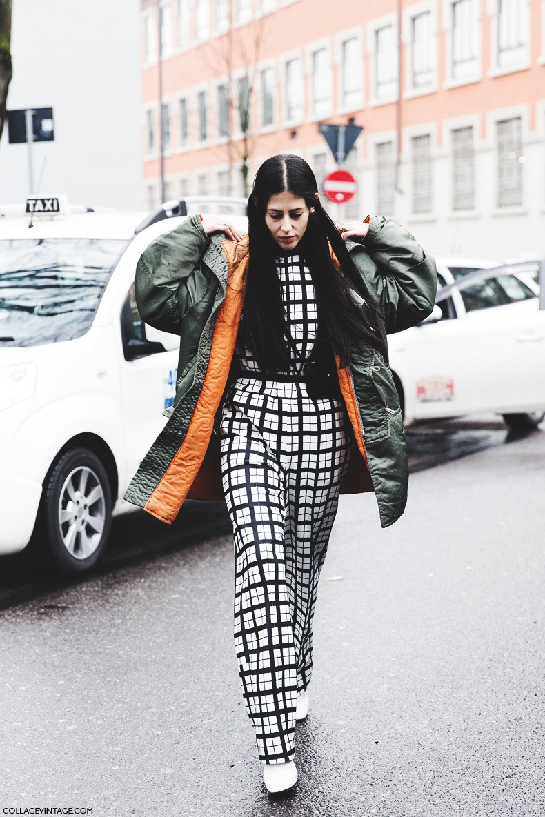 Milan_Fashion_Week-Fall_Winter_2015-Street_Style-MFW-Gilda_Ambrosio-Checked_Suite-Parka-