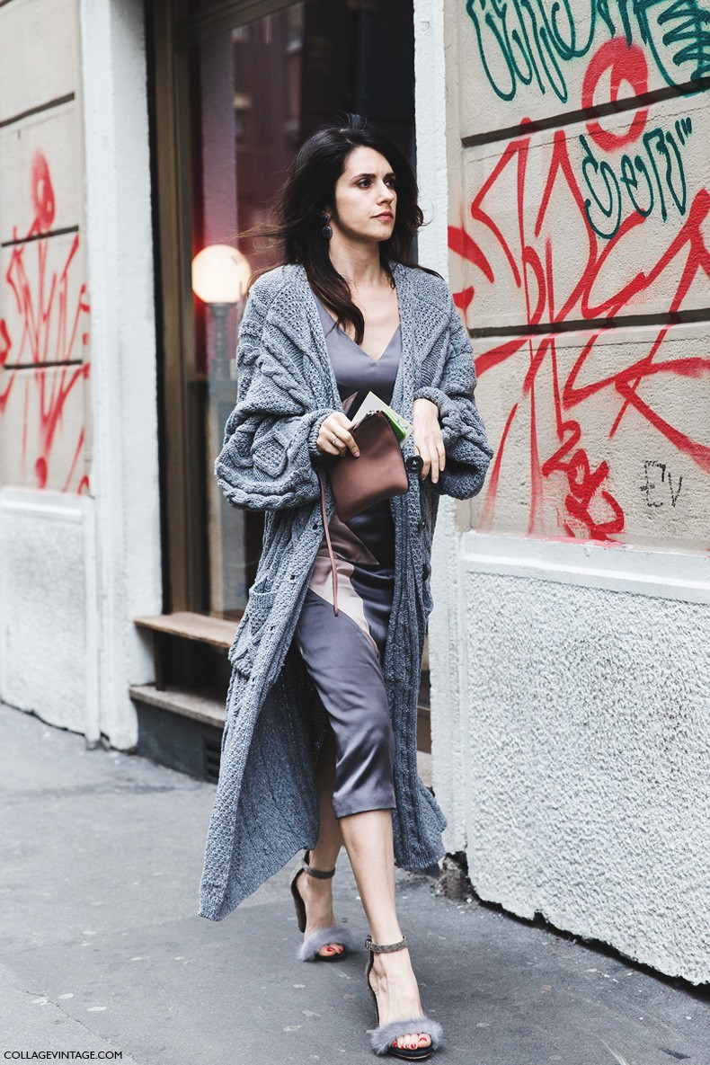 Milan_Fashion_Week-Fall_Winter_2015-Street_Style-MFW-Grey_Dress-Maxi_Cardigan-Fur_Sandals-