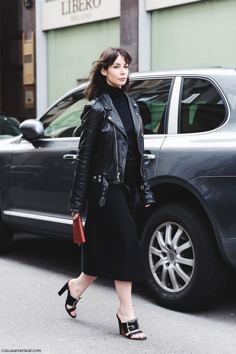 Milan_Fashion_Week-Fall_Winter_2015-Street_Style-MFW-Midi_Skirt_Leather_Biker_JAcket-Givenchy-