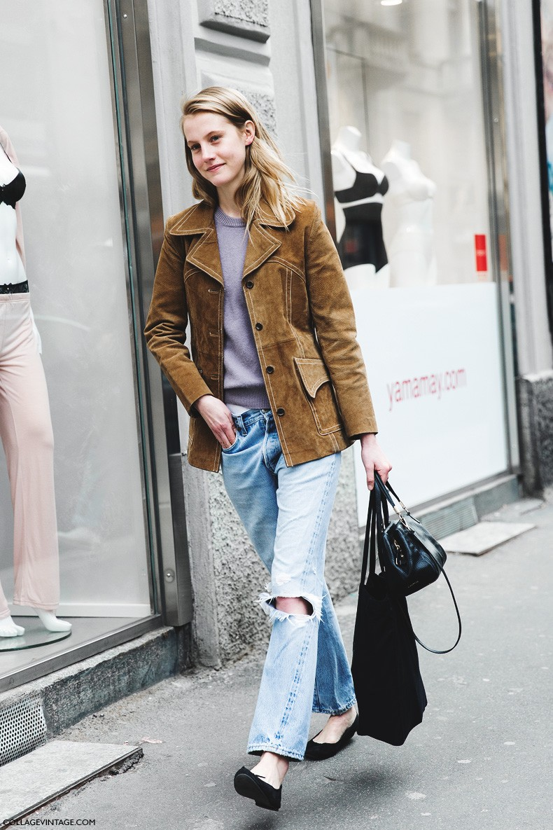 Milan_Fashion_Week-Fall_Winter_2015-Street_Style-MFW-Model-Suede_Jacket-Ripped_Jeans-