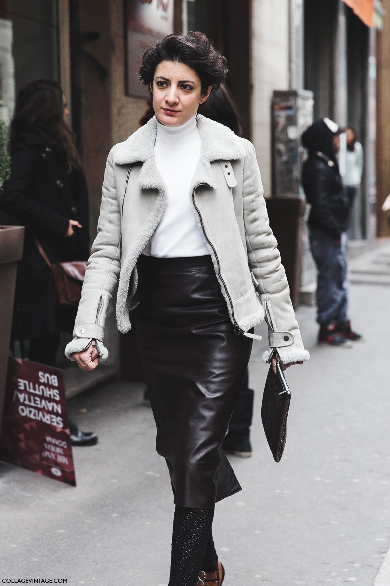 Milan_Fashion_Week-Fall_Winter_2015-Street_Style-MFW-Pencil_Leather_Skirt-Aviator_Jacket-PRada_Sandals-1