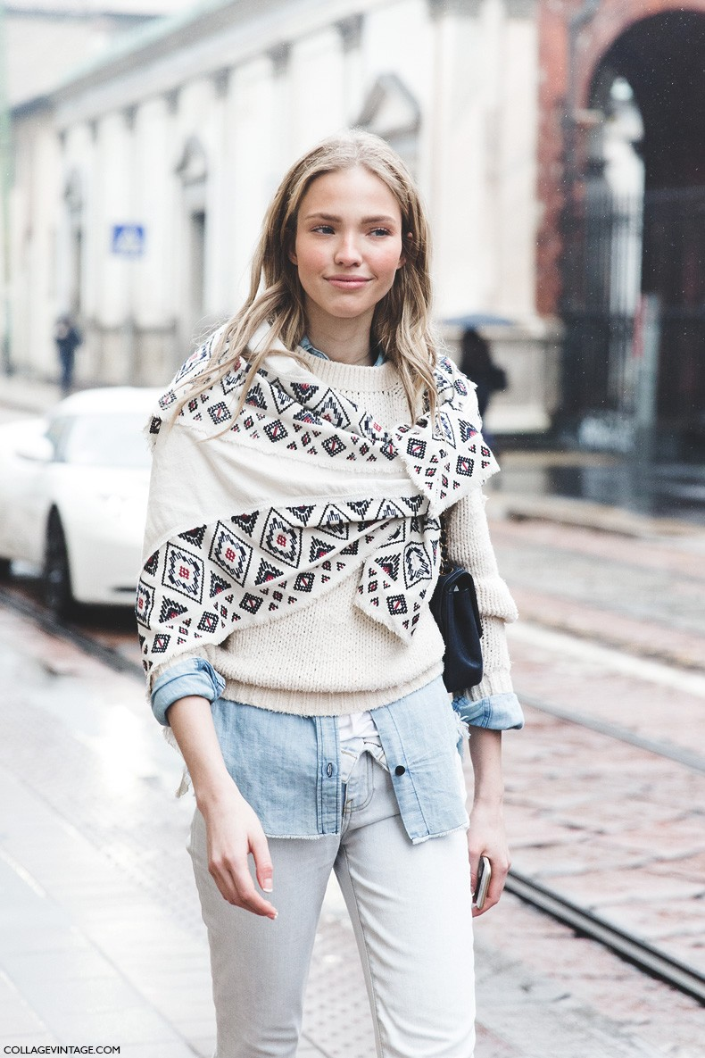 Milan_Fashion_Week-Fall_Winter_2015-Street_Style-MFW-Scarf_Model-White_Jeans-1
