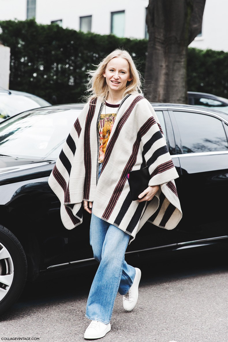 Milan_Fashion_Week-Fall_Winter_2015-Street_Style-MFW-Striped_Cape-Flared_Jeans-