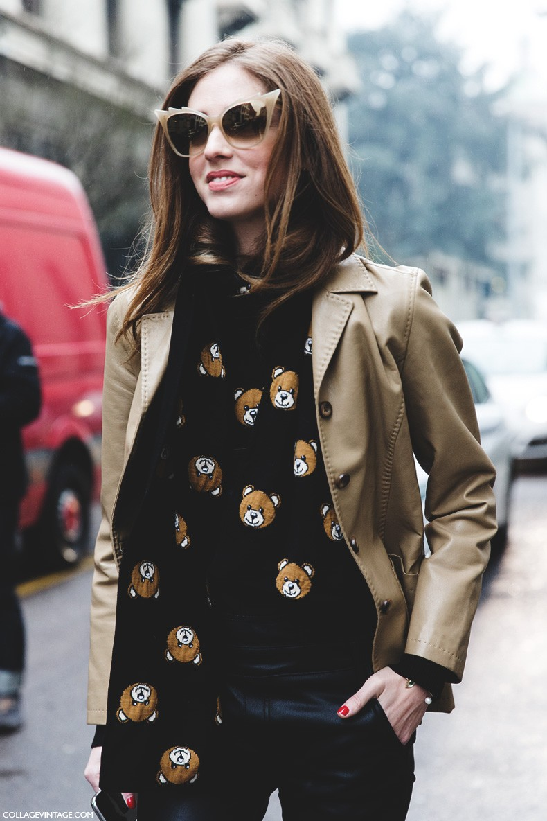 Milan_Fashion_Week-Fall_Winter_2015-Street_Style-MFW-chiara_Ferragni-Moschino_Teddy_BEar-