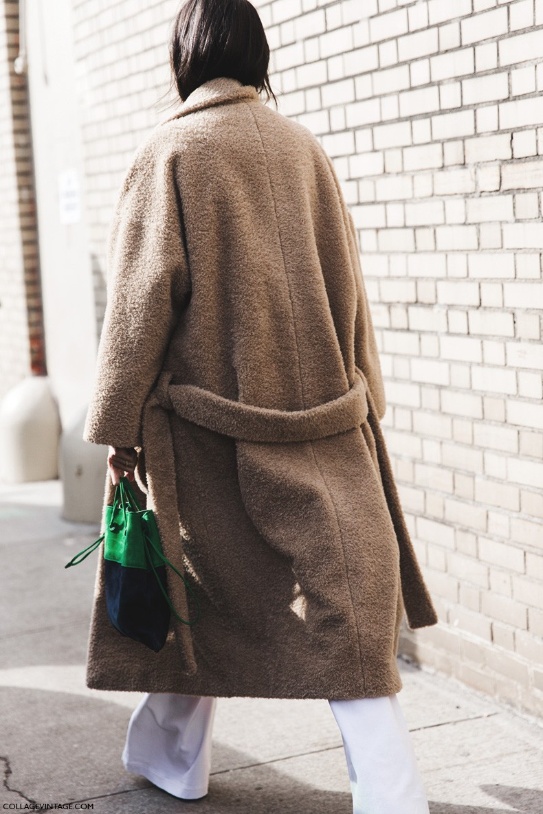 New_York_Fashion_Week-Fall_Winter_2015-Street_Style-NYFW-Leandra-medine-Oversize_Coat-White_Flared_Jeans-Checked_Top-