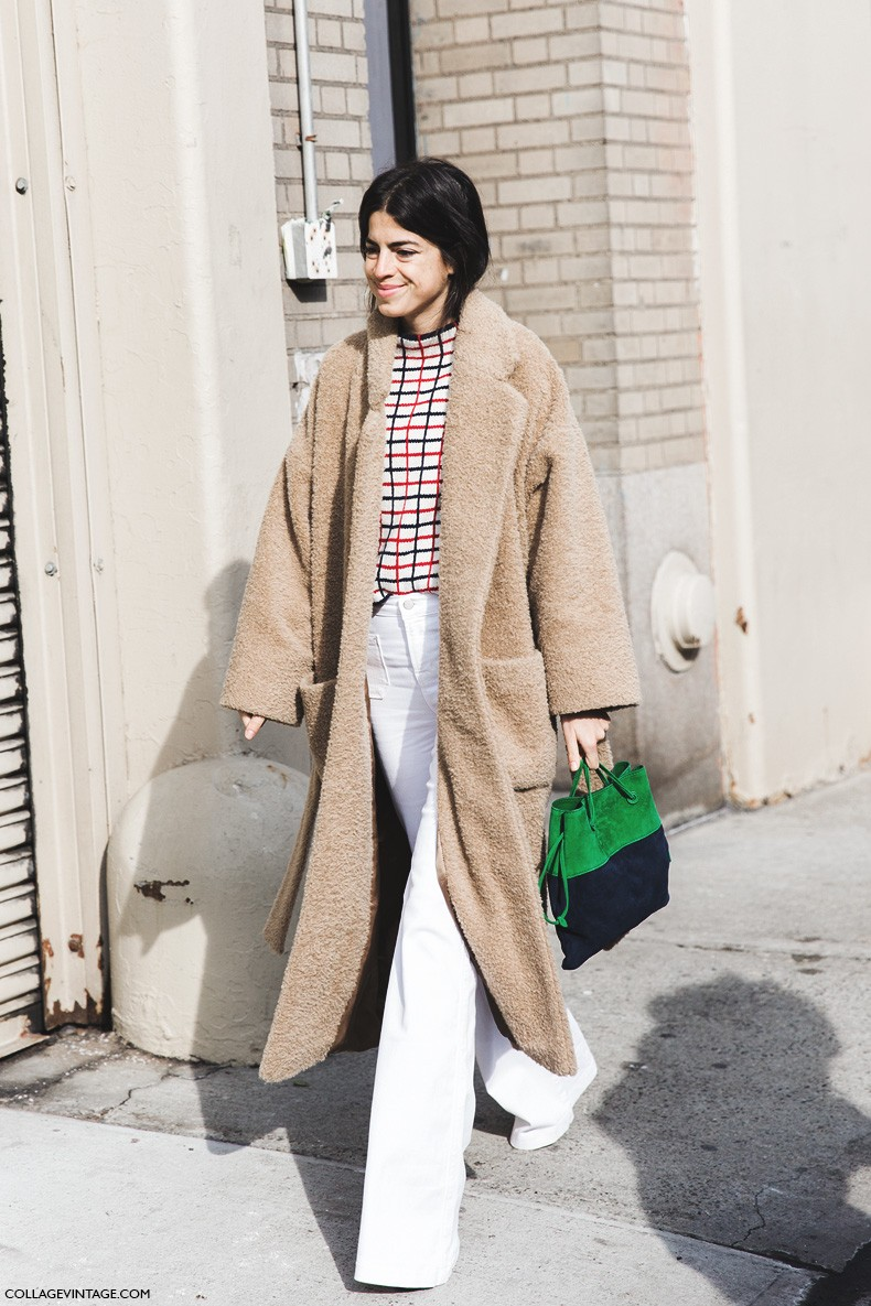 New_York_Fashion_Week-Fall_Winter_2015-Street_Style-NYFW-Leandra-medine-Oversize_Coat-White_Flared_Jeans-Checked_Top-1