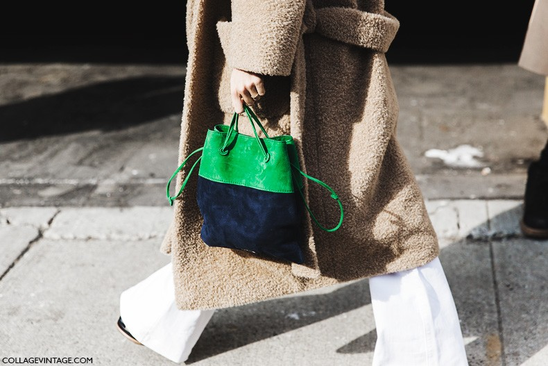 New_York_Fashion_Week-Fall_Winter_2015-Street_Style-NYFW-Leandra-medine-Oversize_Coat-White_Flared_Jeans-Checked_Top-3