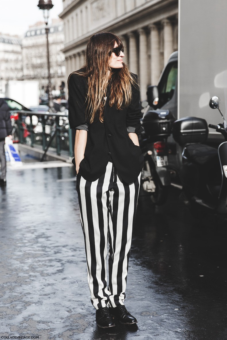 Paris_Fashion_Week-Fall_Winter_2015-Street_Style-PFW-Caroline_De_Maigret-Striped_Trousers-Haider_Ackerman-1