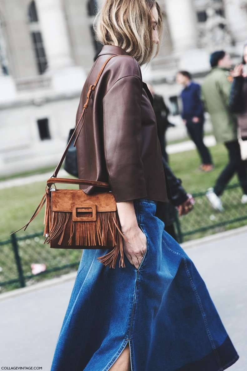 Paris_Fashion_Week-Fall_Winter_2015-Street_Style-PFW-Denim_Culottes-Leather_Jacket-Fringed_Bag-