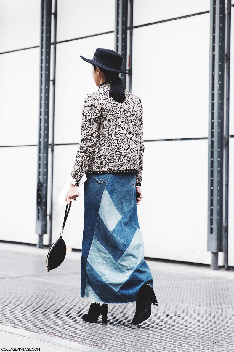 Paris_Fashion_Week-Fall_Winter_2015-Street_Style-PFW-Denim_Long_Skirt-