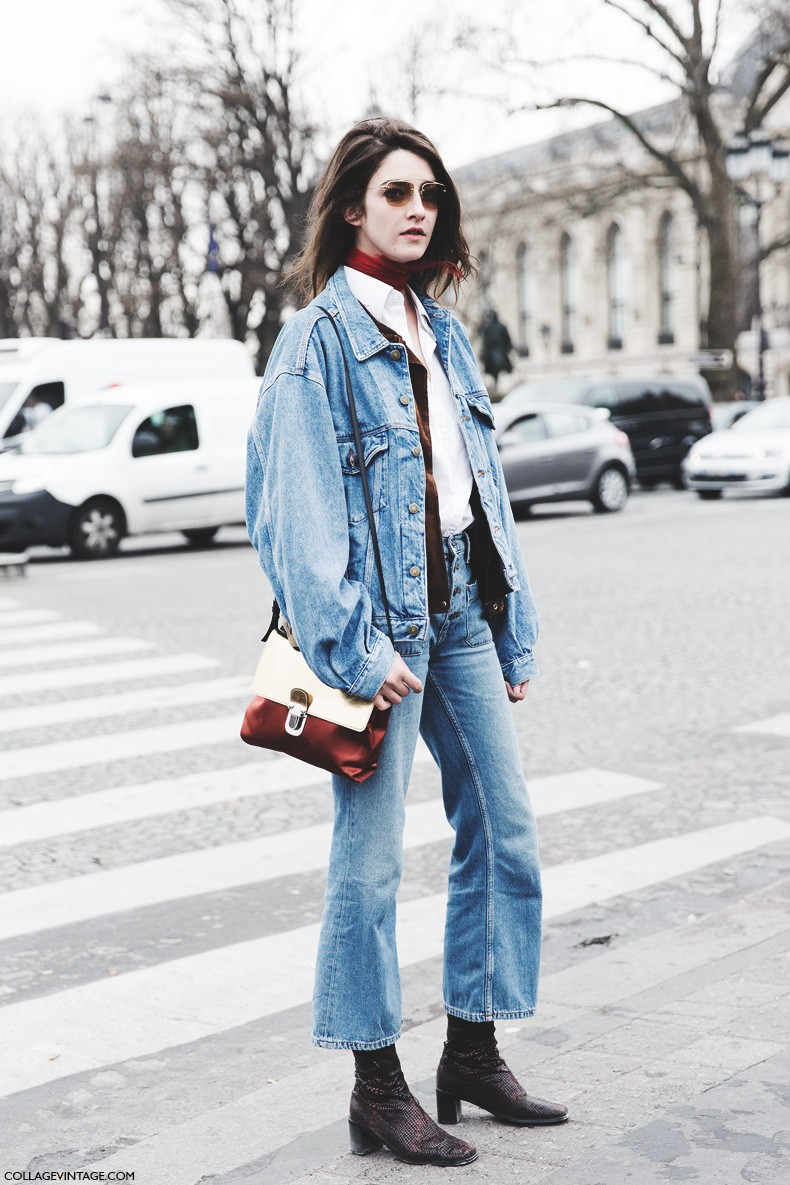 Paris_Fashion_Week-Fall_Winter_2015-Street_Style-PFW-Double_Denim-Outfit-Levis_Vintage-Model-1