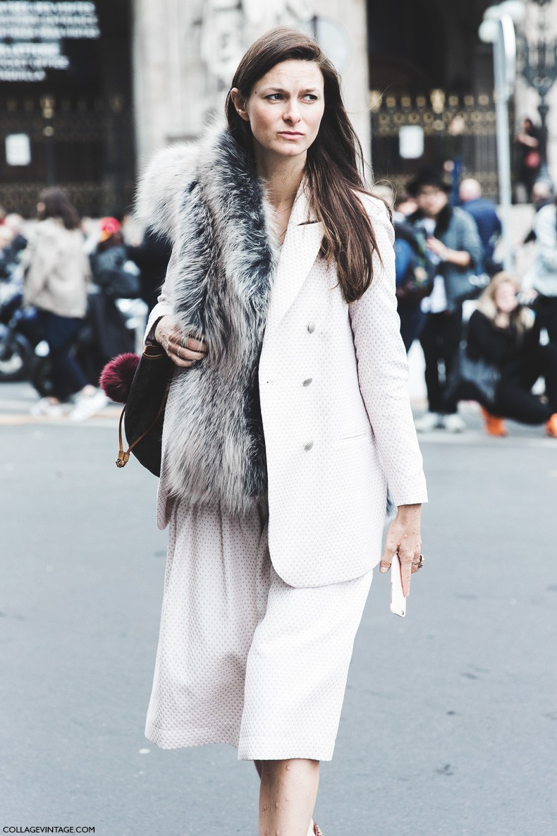 Paris_Fashion_Week-Fall_Winter_2015-Street_Style-PFW-Fur_Scarf-Stella_McCartney-