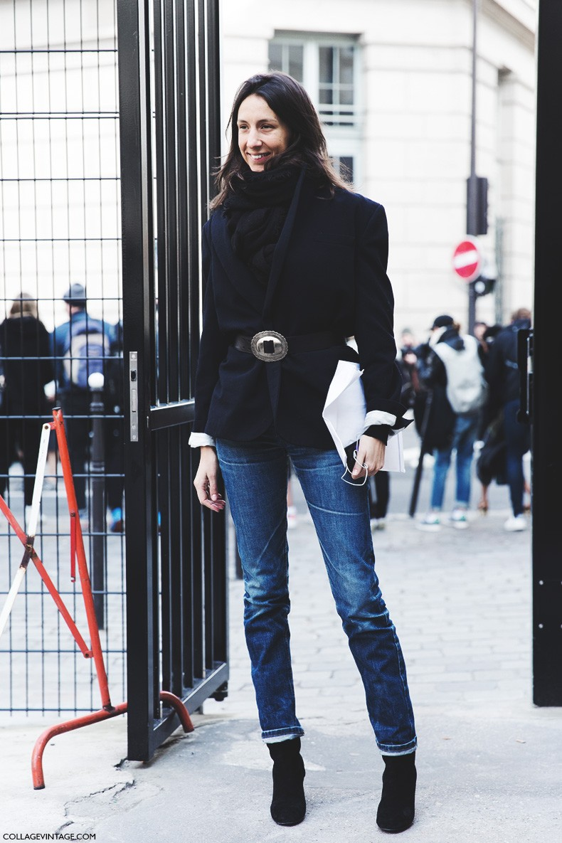 Paris_Fashion_Week-Fall_Winter_2015-Street_Style-PFW-Geraldine_Saglio-Belted_Jacket-Jeans-