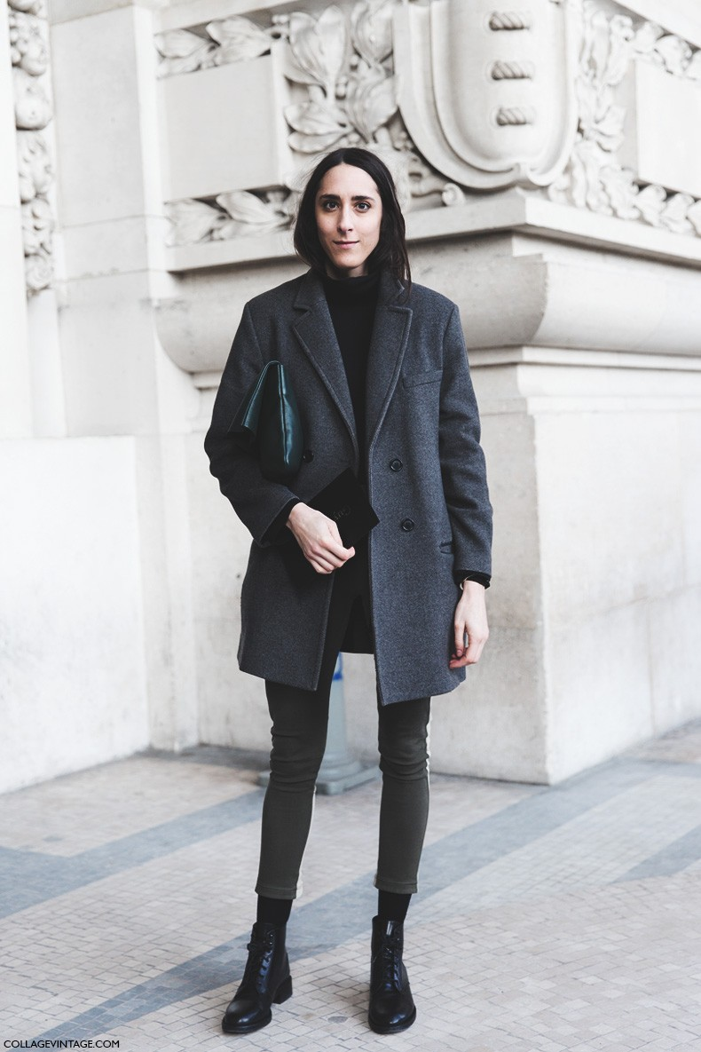 Paris_Fashion_Week-Fall_Winter_2015-Street_Style-PFW-Grey_Coat-Skinny_Jeans-GReen_Clutch