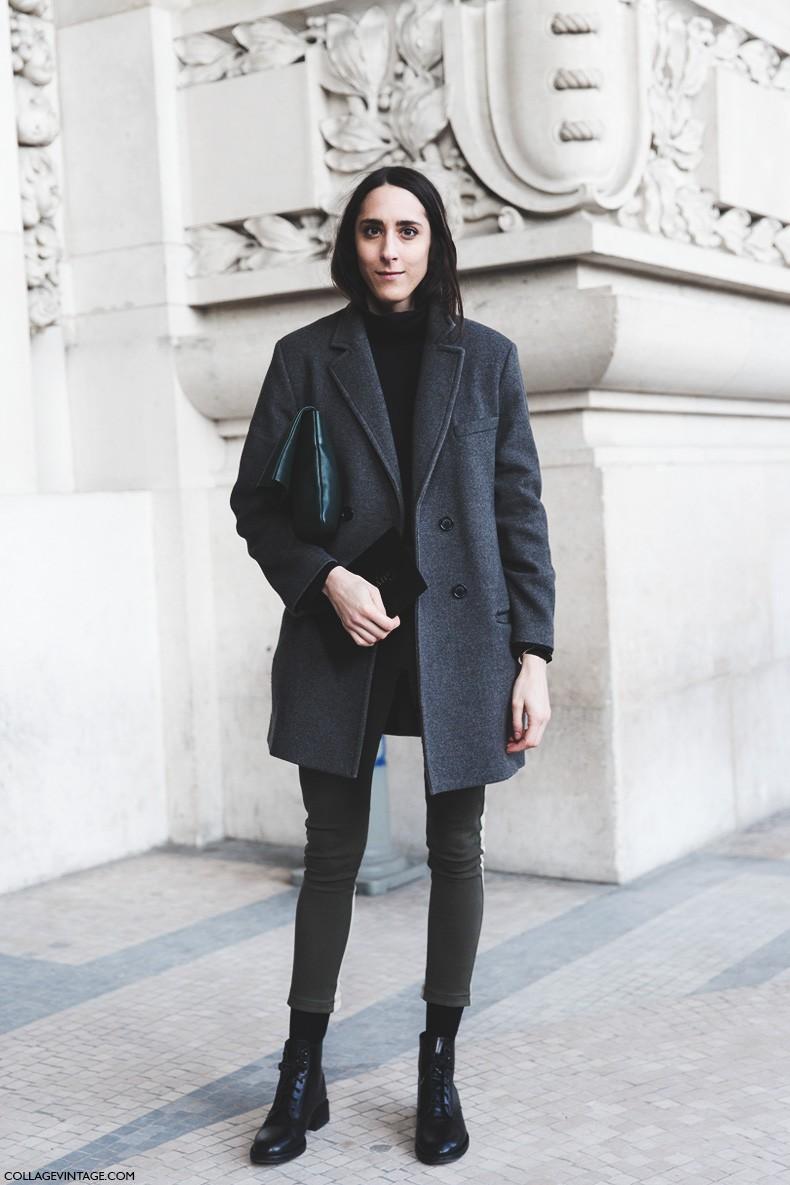 Paris_Fashion_Week-Fall_Winter_2015-Street_Style-PFW-Grey_Coat-Skinny_Jeans-GReen_Clutch