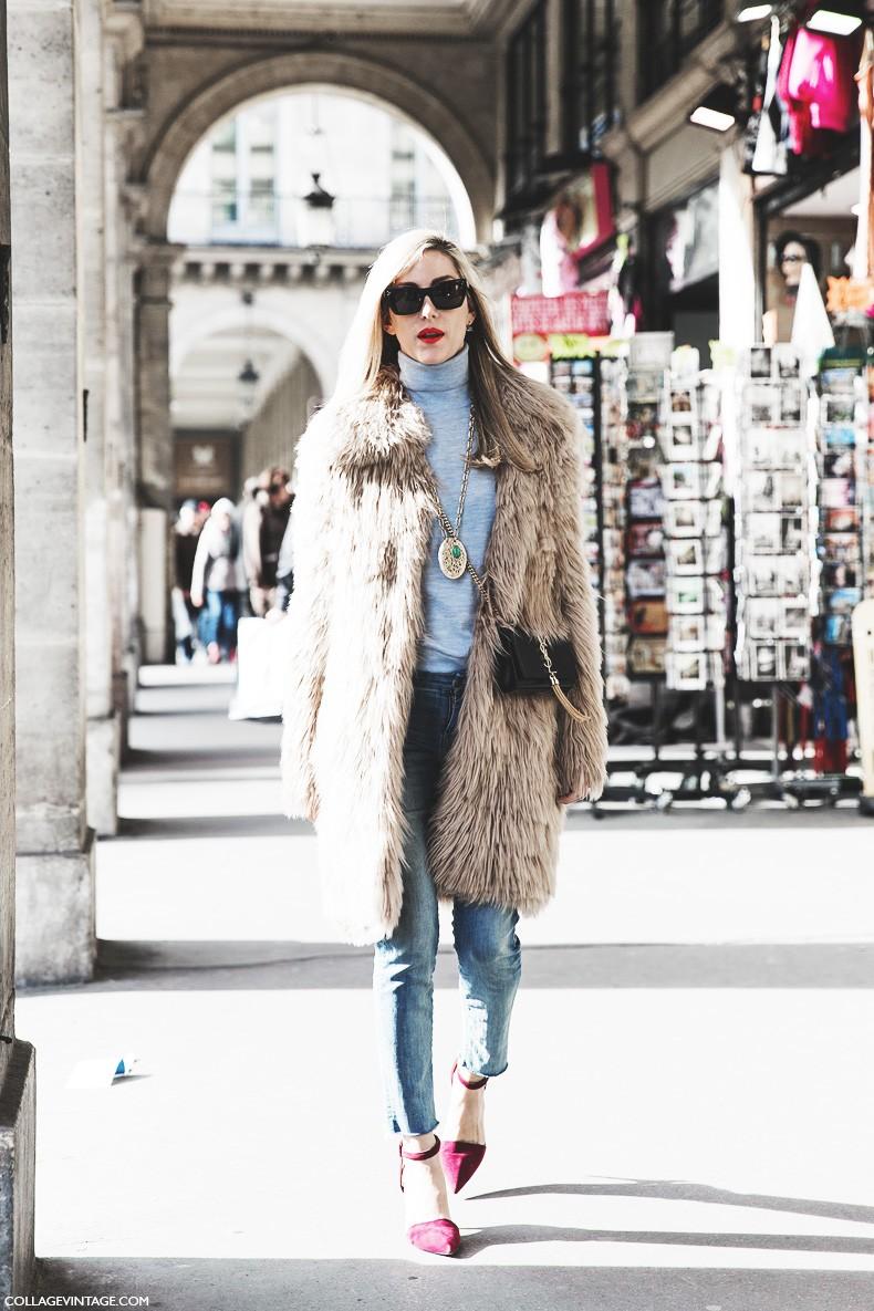 Paris_Fashion_Week-Fall_Winter_2015-Street_Style-PFW-Joanna_Hilman-Skinny_Jeans-Fur_Coat-Turtle_Neck_Sweater-2