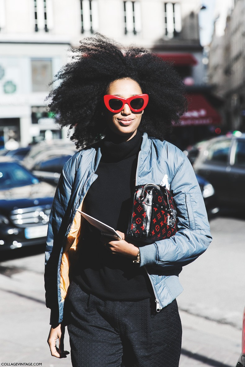 Paris_Fashion_Week-Fall_Winter_2015-Street_Style-PFW-Julia_Sarr_Jamois-Bomber-Louis_Vuitton_Bag-